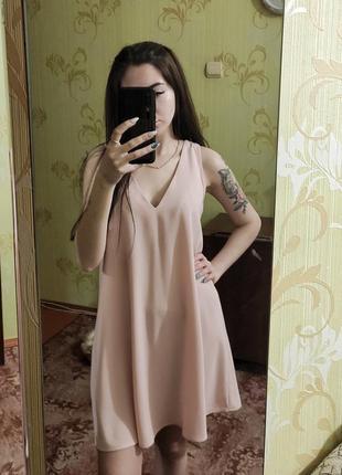 Пудровое платье в бельевой стиле2 фото