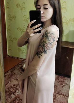 Пудровое платье в бельевой стиле3 фото