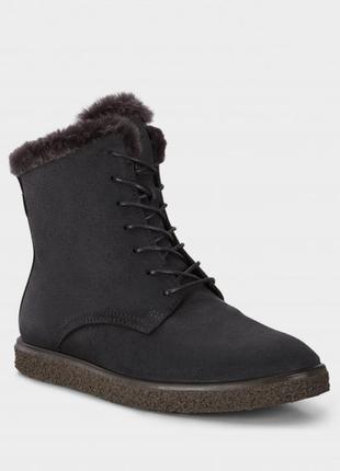 Жіночі черевики ecco crepetray ) виконані з нубуку. утеплена модель з високою шнурівко