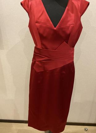 Идеальное красное вечернее платье миди коктейльное из атласа