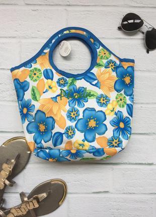 Новая пляжная сумочка в цветочный принт