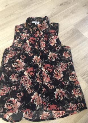 Легкая летняя блуза майка принт цветы