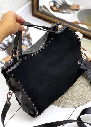 Женская черная кожаная сумка c замшевой вставкой polina & eiterou