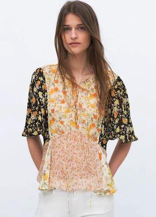 Zara комбинированная блуза со шнуровкой
