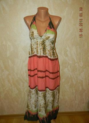 Легкое длинное платье сарафан с принтом ravi famous