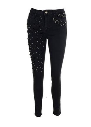 Супер стильные джинсы скинни высокая талия с заклепками 36,38,40р.