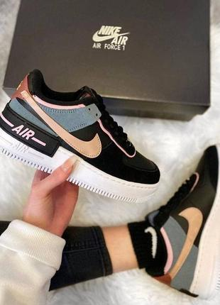 Кроссовки nike air force 1 shadow black metallic red bronze черные женские