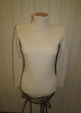 Базовый бежевый свитер гольф водолазка в рубчик george s\ m