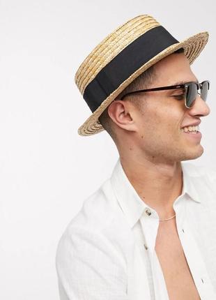 Шляпа мужская соломенная канотье с твердыми полями летняя от солнца