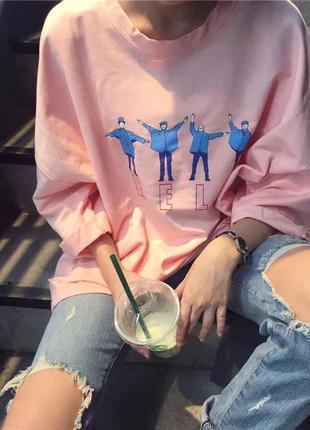 Толстовка кофта кофточка футболка розовая пудровая