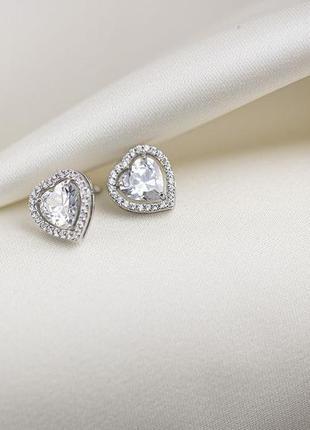 Серьги серебро 925 сердце ♥ в стиле pandora, сережки гвоздики пандора