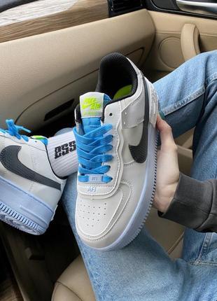 Женские кроссовки nike air force shadow white/blue