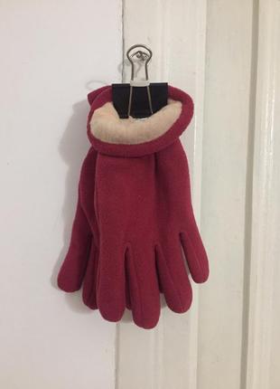 Перчатки флисовые красные размер l