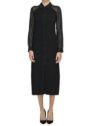 Красивое комбинированное платье рубашка миди