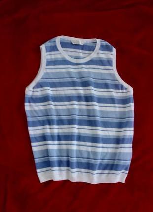 Жилет жилетка вязаный хлопковый в полоску базовый на рубашку