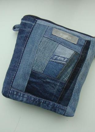 Косметичка джинсовая пэчворк текстильная сумочка текстильная