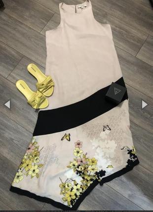 Платье guess s в цветочный принт асимметричное
