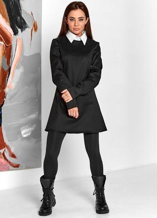 Платье с имитацией рубашки хлопок с воротником трапеция