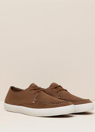 Замшевые мужские коричневые мокасины, туфли, кеды  44-45 pull&bear оригинал