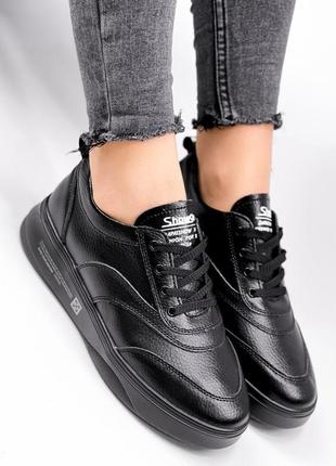 Черные кожаные кеды vika, женские кожаные кроссовки 36-41р