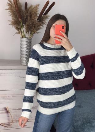 Вязаный полосатый свитер 1+1=3