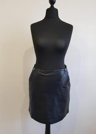 Черная кожаная юбка kookai