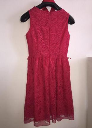 Платье миди коктельное кружевное ягодного цвета размер м а-силуэт нарядное платьице