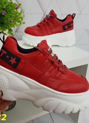 Кроссовки буффало на высокой платформе красные