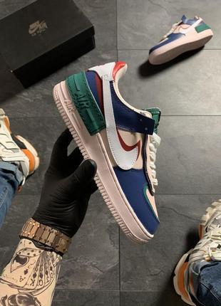 Кроссовки nike air force 1 white green blue