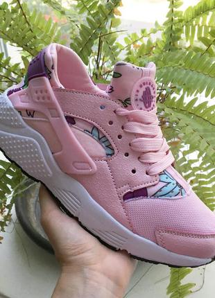 Кроссовки розовые тканевые с цветами сетка в стиле nike huarache