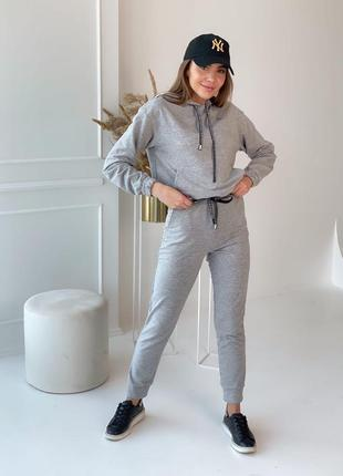 💛костюм женский 💚короткая кофта с капюшоном и штаны, 350/124, 💙серый
