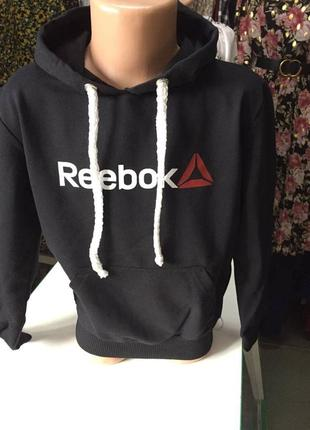 Черное худи на мальчика reebok / кофта с капюшоном