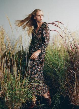 Платье миди с цветочным принтом zara - m, l