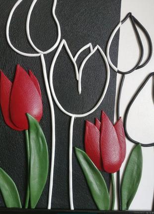 """Картина из кожи """"тюльпаны"""""""