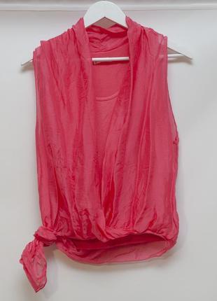 Шелковая итальянская блуза-майка красивого цвета