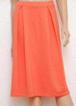 Оранжевая фактурная миди юбка f&f 8uk