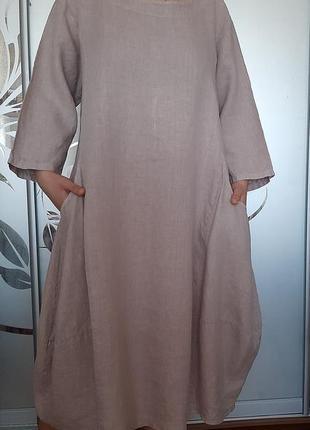 Льняное платье лен бохо оверсайз италия