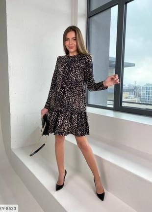 Платье а силуэта  леопард
