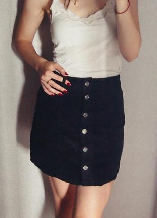 Вельветовая черная юбка