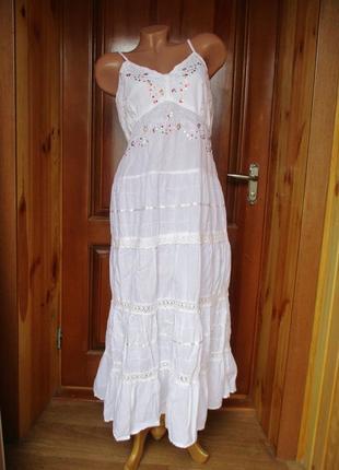 Платье бело-молочное хлопок/сукня біло-молочна бавовна/m-l