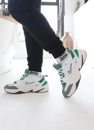 Мужские кроссовки nike m2k tekno white green (белые, зелёные)