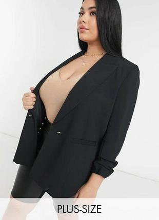 Черный мягкий блейзер жакет пиджак со сборками нарукавах