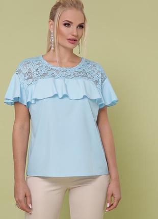 Распродажа!!! блуза голубая больших размеров с гипюром