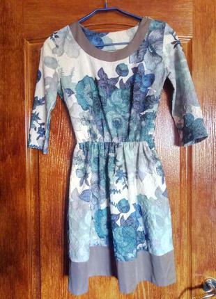 Голубое цветочное платье