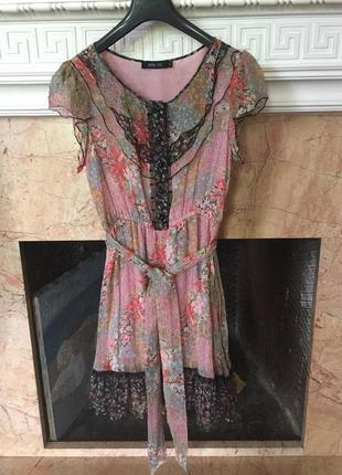 Anna sui цветастое шелковое платье р. m