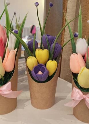 Букет цветов из мыла ручной работы букет тюльпанов букет крокусов