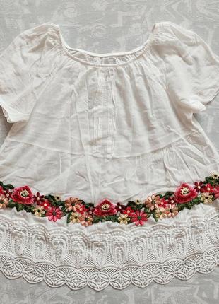 Легчайшая блузка с вышивкой 100% хлопок блузка-разлетайка