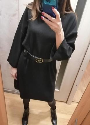 Чёрное платье reserved свободного кроя не мнётся!