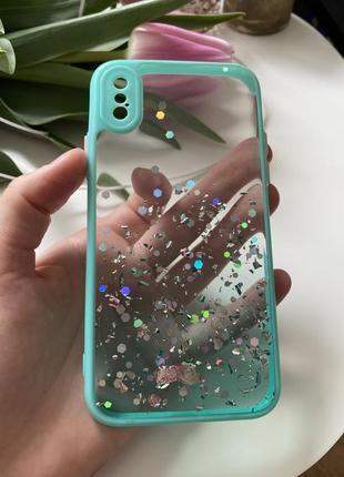 Качественный силиконовый чехол iphone x xs мята