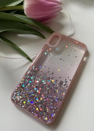Чехол качественный силикон iphone x xs с блестками розовый